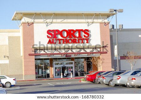 SACRAMENTO, CA, USA - DECEMBER 21:  Sports Authority entrance on December 21, 2013 in Sacramento, California. Sports Authority is one of the largest sporting goods retailers in the US.