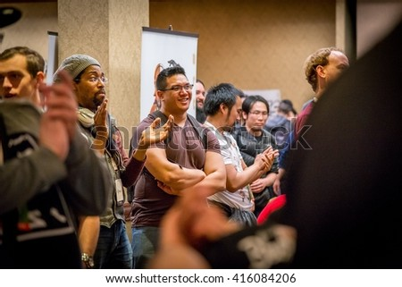 SACRAMENTO - MARCH 26: Unidentified spectators at Street Fighter V video game competition on March 26, 2016 at NCR NorCal Regionals, the premier fighting game tournament. - stock photo