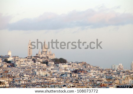 Sacre coeur at the summit of Montmartre, Paris - France