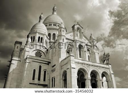 "Sacre Coeur basilica, ""Basilica of the Sacred Heart of Jesus"" in Montmartre, Paris. - stock photo"