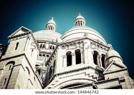 Sacre Coeur Basilica, close up at a summer day. Paris - stock photo