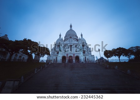 Sacre-Coeur Basilica in the historic district of Montmartre in Paris,France - stock photo