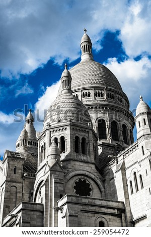 Sacre-Coeur Basilica on Montmartre, Paris, France - stock photo