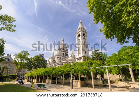 Sacre Coeur Cathedral in Montmartre, Paris, France - stock photo
