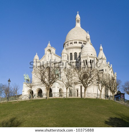 Sacre-Coeur cathedral,Montmartre,Paris,winter2008 - stock photo