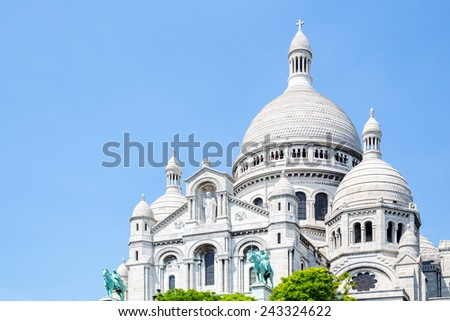 Sacre Coeur Cathedral on Montmartre , Paris, France. - stock photo