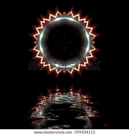 sacred geometry sun star gate abstraction water reflection, sacred galaxy, ufo technology, futuristic design, jumping in time new abstraction cover design, time traveling,  - stock photo