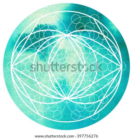 Sacred geometry symbol on colorful watercolor round background. Alchemy, religion, philosophy, astrology and spirituality themes. Matter, space and time. Science in Universe
