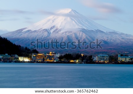 sacred mountain of Fuji on  top covered with snow in Japan.