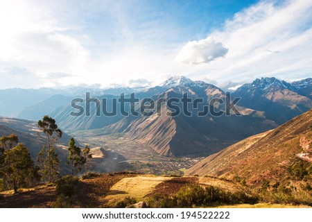 Sacred Valley harvested wheat field in Urubamba Valley in Peru, Andes, on the road from Cuzco to Abancay - stock photo