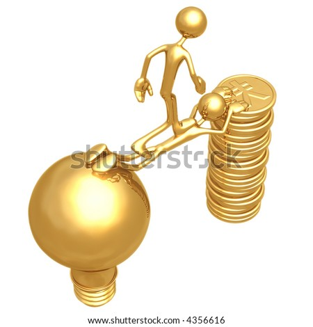 Sacrifice Bridge Between An Idea And A Gold Yen Coin Stack - stock photo