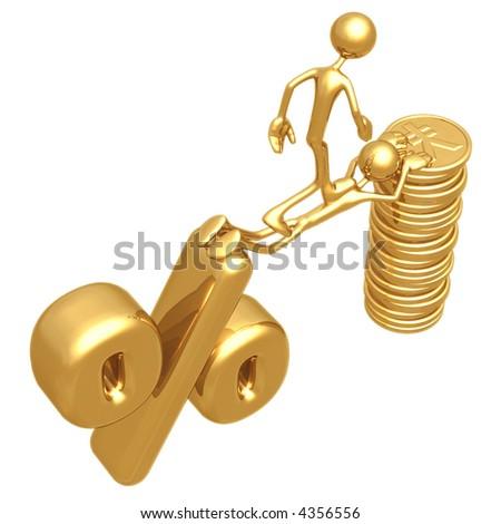 Sacrifice Bridge Between Percentage Symbol And Gold Yen Coin Stack - stock photo