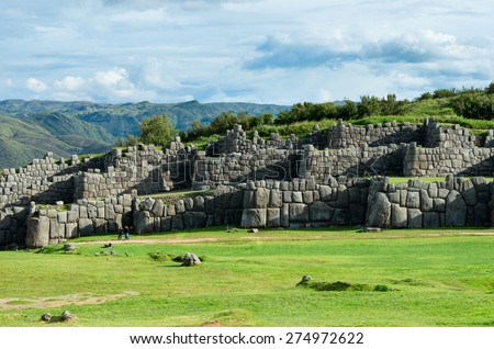 Sacsayhuaman, Inca ruins in Cusco, Peru - stock photo