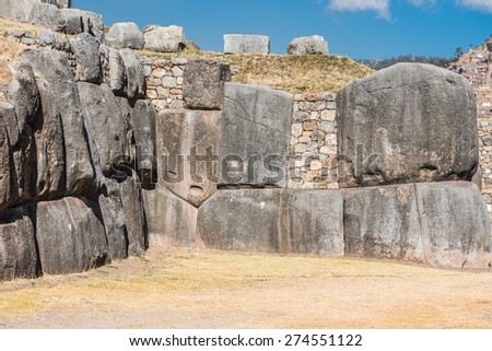 Sacsayhuaman, Incas ruins in the peruvian Andes at Cuzco Peru - stock photo