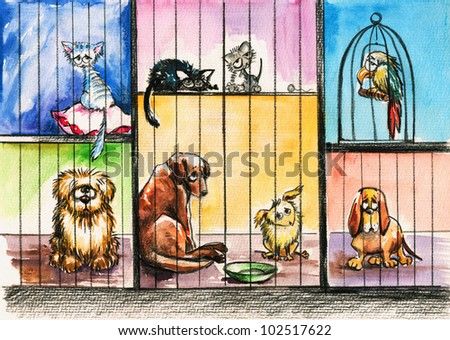 Sad animals in the pound.Picture I have created with watercolors. - stock photo