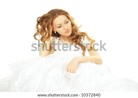 sad beauty bride in white dress isolated - stock photo