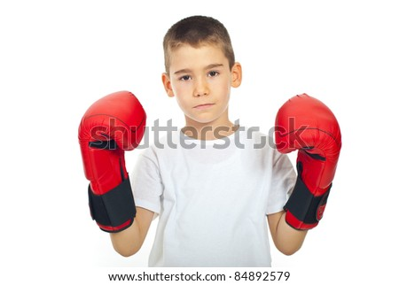 Sad boy with boxing gloves isolated on white background