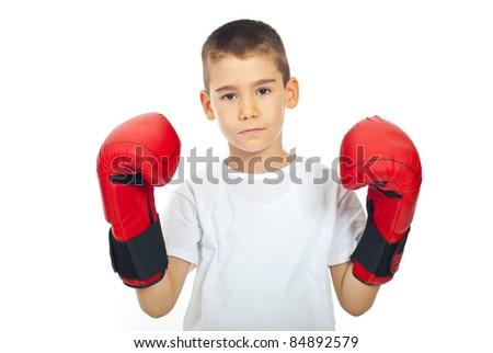 Sad boy with boxing gloves isolated on white background - stock photo