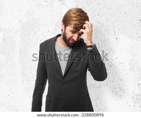 sad businessman crying - stock photo
