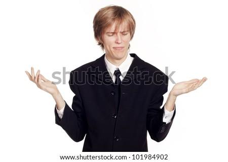 Sad businessman on isolated background - stock photo