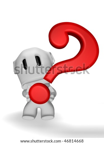 sad caricature of man with question marks - stock photo