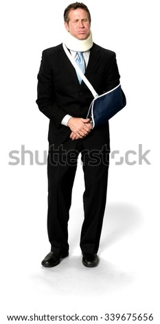 Sad Caucasian man with short medium blond hair in business formal outfit holding Breath - Isolated