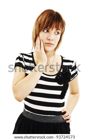 Sad caucasian pretty teen student thinking and touching her head. Isolated on white background. - stock photo