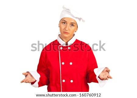 Sad chef woman questioning isolated on white background - stock photo