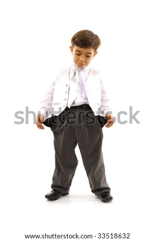 Sad child without money in the pockets . - stock photo