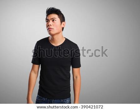 sad chinese man - stock photo