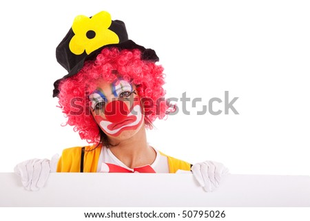 sad clown holding a blank banner (isolated on white) - stock photo