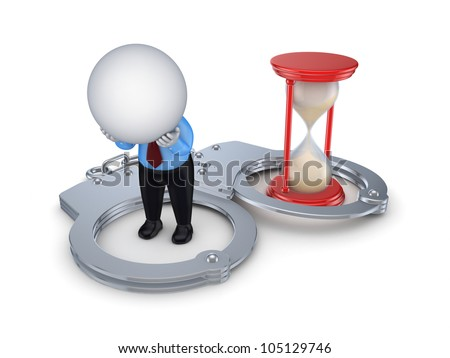Sad 3d small person, handcuff and red sand glass.Isolated on white background. - stock photo