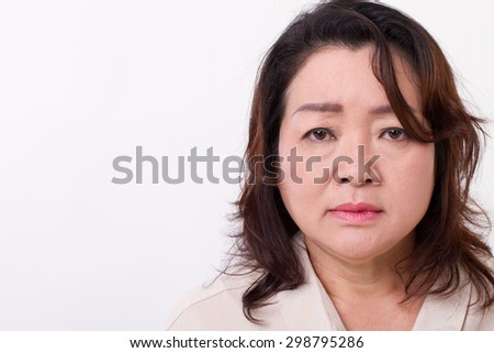 sad, disappointed, unhappy, negative, depressed middle aged woman - stock photo