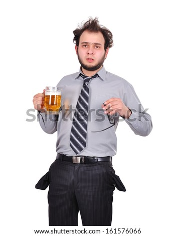 sad drunk businessman with a glass of beer - stock photo