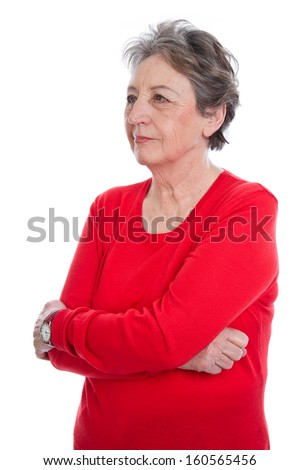 Sad elderly woman with grey hair isolated on white background - stock photo