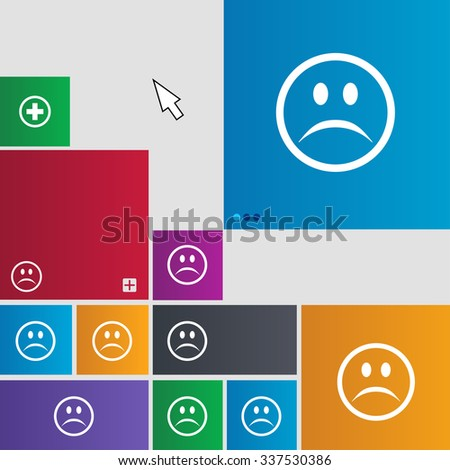 Sad face, Sadness depression icon sign. Metro style buttons. Modern interface website buttons with cursor pointer. illustration