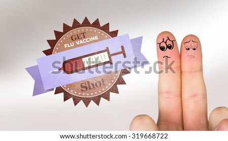 Sad fingers against flu shot message - stock photo