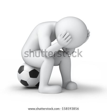 sad footballer, 3d image with work path - stock photo