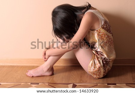 sad girl - stock photo