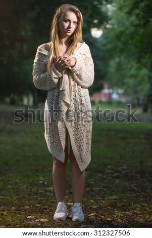 Sad girl on a walk - stock photo