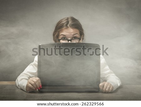 sad girl with notebook - stock photo