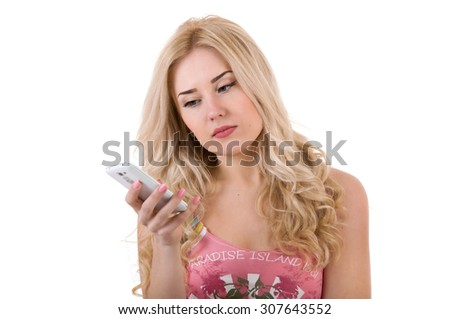 Sad girl with phone