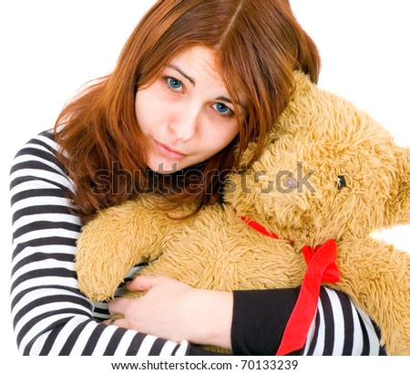 sad girl with toy - stock photo