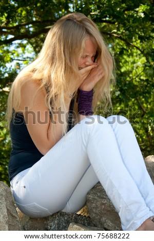 Sad Lady - stock photo
