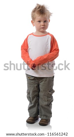 Sad little boy isolated on white