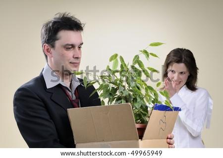 sad man and happy business woman - stock photo