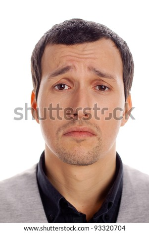 sad man in white background