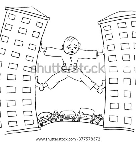 Sad man trying to move house, which prevent urban transport. Pencil drawing - stock photo