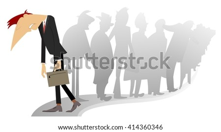 Sad man with a bag is passing by the turn of the people - stock photo