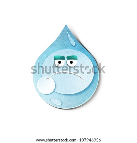 Water Drop Character Isolated On White Stock Vector ...